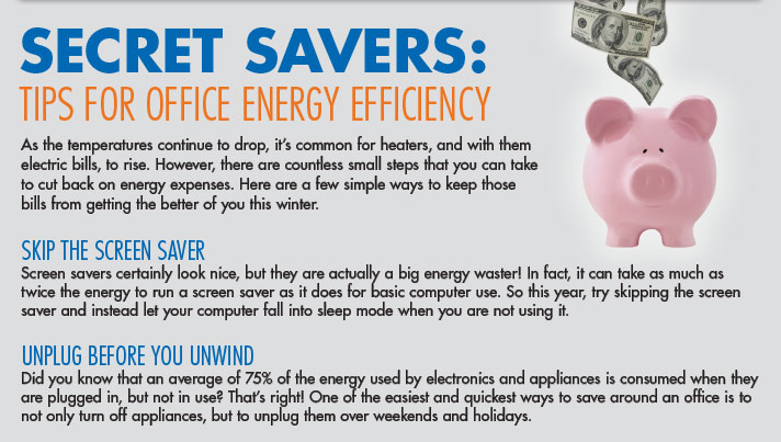 Secret Savers: Tips for Office Energy Efficiency