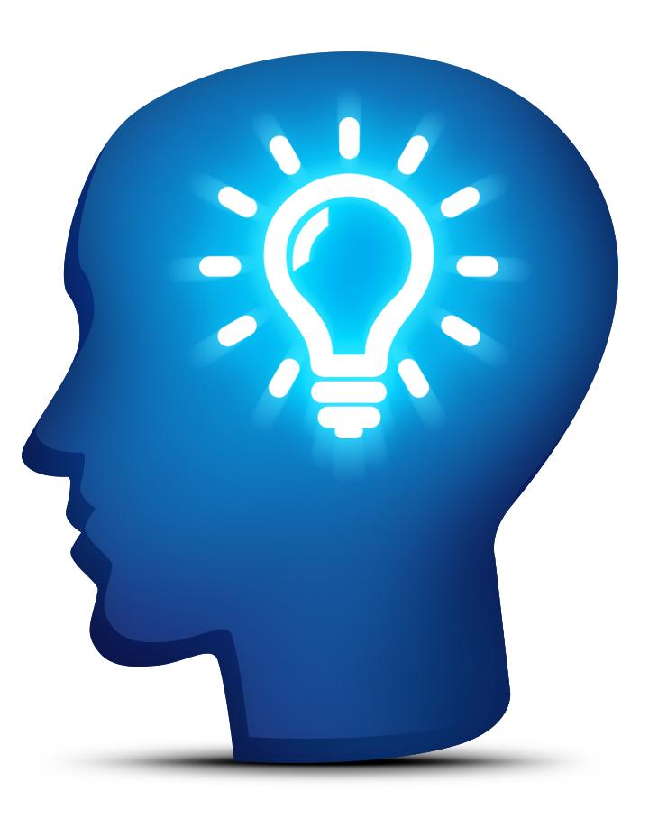 Head with glowing lightbulb